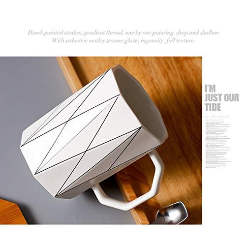 N/ A Matte geometrische Tasse mit Bambusdeckel Metalllöffel, Mikrowelle Milch Tasse Linie Keramik Tasse Tassen Home Office Drink 400ml