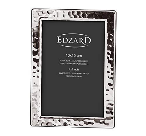 EDZARD Fotorahmen Pavia für Foto 10 x 15 cm, edel versilbert, anlaufgeschützt, mit 2 Aufhängern