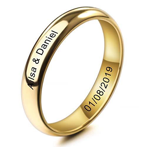 MeMeDIY 4mm Oro Dorado Tono Acero Inoxidable Anillo Ring Banda Venda Alianzas Boda Amor Love Talla Tamaño 9 - Grabado Personalizado