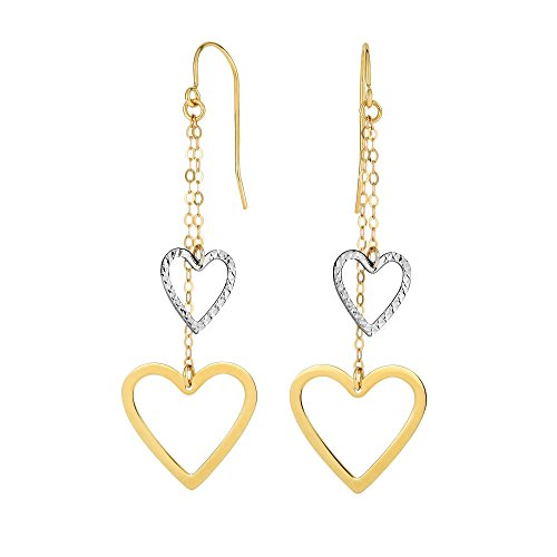 Finejewelers 14 Kt Two Tone Gold Bright Cut Open Heart Double Strand Drop Earring with Euro-wire
