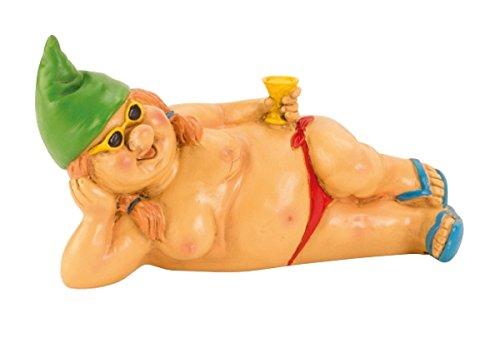 Zwergin oben ohne mit grüner Mütze 23 cm liegend Figur weiblicher Gartenzwerg FKK