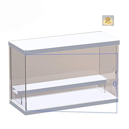 ELEpure Caja de exhibición de acrílico transparente para la colección de modelos Lego Minifigures,  caja de exhibición de almacenamiento a prueba de polvo con base para minifiguras (blanco,  30x13x19cm)
