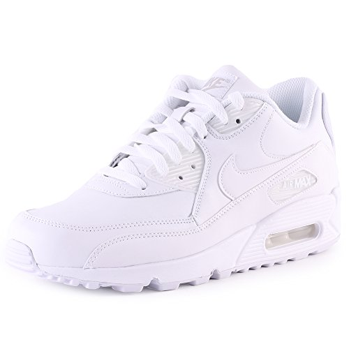 Nike Air Max 90 Leather Herren Sneakers, weiß (white/white), 44 EU