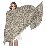 Pañuelo de seda para mujer Patrón de papel tapiz beige claro Vector Bufanda Chal Bufandas de moda Chalecos de protección solar, bufanda para el cabello