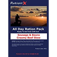 Ration-X All Day Ration Pack 2100 kcal Ready to Eat Wet Meals Plus Snacks Menu 1 Creamy Beef Stew + Sausage & Beans + Chocolate Cake 5