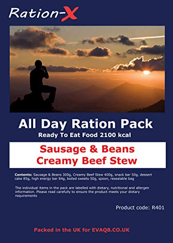 Ration-X All Day Ration Pack 2100 kcal Ready to Eat Wet Meals Plus Snacks Menu 1 Creamy Beef Stew + Sausage & Beans… 1