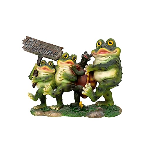 Liffy 'Four Happy Friends' Frog and Tortoise Garden Resin Statue Ornaments...