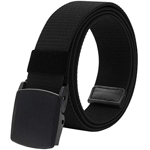 Men's Elastic Stretch Belt, Military Tactical Belts Breathable Canvas Web Belt for Men & Women with No Metal Plastic Buckle for Work Outdoor Sports, Adjustable for Pants Shorts Jeans Below 46' (Black)