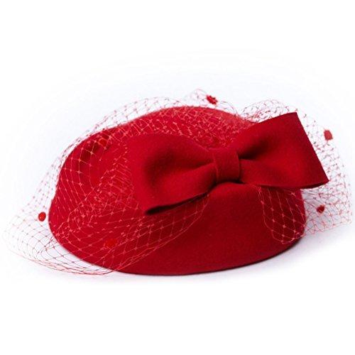 UEETEK Cocktail Party Hochzeit Wollfilz Fascinator Pillbox Hut mit Schleier und Bogen für Frau (rot)