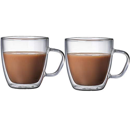 jieqing ThermogläSer Cappuccino Tassen Doppelwandige Becher Doppel Wand Glas Iced Kaffee Tasse Glas Becher Glas Kaffee Tassen Kaffee Glas 250ml,2cups