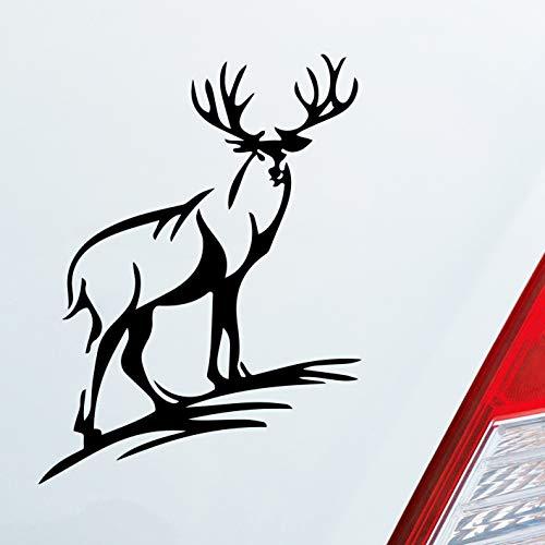 Auto Aufkleber in deiner Wunschfarbe Hirsch Geweih Jäger Wild Jagd Dub OEM JDM 12x9 cm Autoaufkleber Sticker Folie