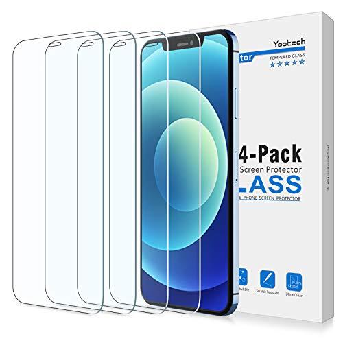 Yootech [4 Stücke] HD Display Panzerglas Schutzfolie für Apple iPhone 12 Mini 2020 [5,4 Zoll] Mit Positionierhilfe, 9H-Härte Anti-Kratzen, Anti-Bläschen, Antil-Öl, Hülle freundlich, Kristall-klar