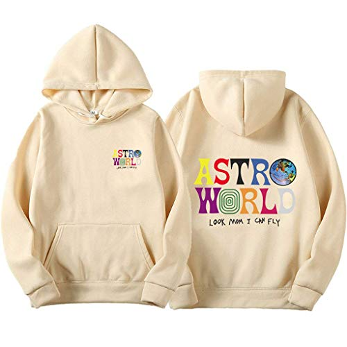 Yesgirl Travis Scott Astroworld Wish You were Here Hoodies Mode Brief Kapuzenpullover Streetwear Herren Damen Pullover Sweatshirt Unisex Tops (L, Beige)