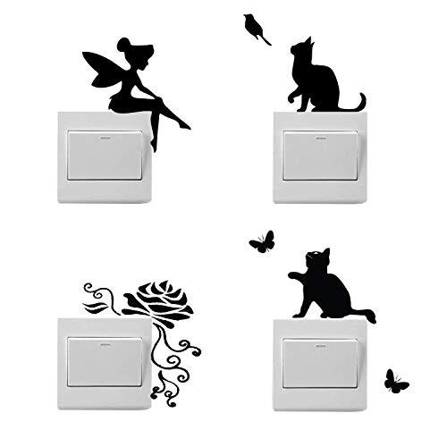 4 pegatinas de dibujos animados para interruptores de luz, pegatinas de hadas, pegatinas de flores, pegatinas de gatos para interruptores de luz
