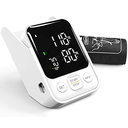 Tensiómetro de Brazo Digital, Monitor de Presión Arterial con Pantalla LCD, Deteccion de Irregular Arritmia, Brazalete 22-42cm, 2x90 Memoria, Tamaño Ligero Portátil Regalos para Padres