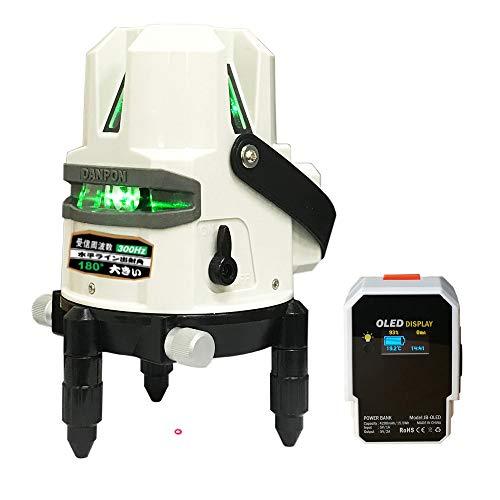 Danponレーザー墨出し器 グリーン 5ライン 水平ライン1本 (出射角180°以上、ポイント付き) 垂直ライン4本 垂直ポイント、地墨点付き 高輝度 自動補正 OLEDパワーバンク付き 新型 屋内外対応 非球面ガラスレンズ採用 VH-525