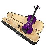 Kesoto Professional Akustische Violine 4/4 Full Size Geige Massivholz für Anfänger Studenten mit Koffer, Bogen und Kolophonium - Lila