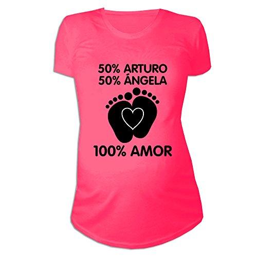 Regalo Personalizable para Mujeres Embarazadas: Camiseta porcentajes Personalizada con los Nombres de la Madre y del Padre del bebé (Rosa)