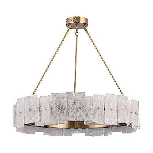 Lámpara de araña de alabastro de Bronce Artesanía de Hierro Lámpara LED de luz cálida Nórdico Moderno Minimalista Moda Villa Creativa Sala de Estar Comedor Diámetro 60 cm
