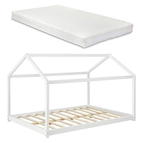 Kinderbed twijfelaar huisbed met matras 140x200 cm wit