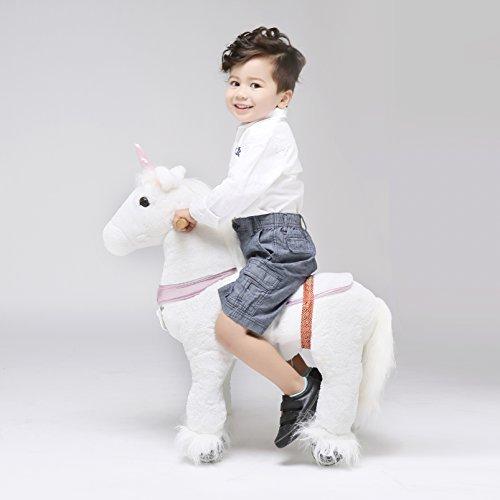 UFREE Horse Action Pony, Gehpferd Spielzeug, Schaukelpferd mit Rädern Rauf auf Schwindel für Kinder im Alter von 3 bis 6 Jahren, Einhorn mit rosa Horn