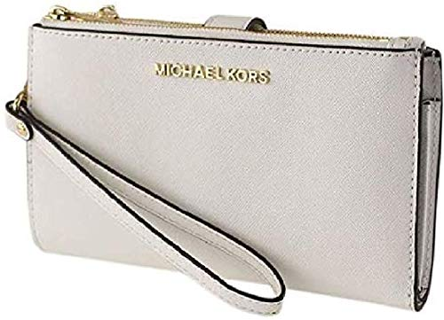 Made of PVC/polyester/cotton/polyurethane; trim: leather; lining: polyester; 2 top zip & magnetic-snap tab closures 7 interior credit card slots; 3 slip pockets and 1 phone pocket; fits all phone large size; 6 Inches wrist strap Gold or Silver tone h...