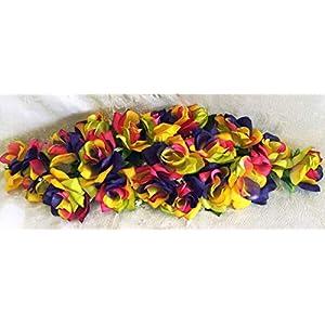 Silk Flower Arrangements Floral Décor Supplies for 2 ft Artificial Roses Swag Silk Flowers Wedding Arch Table Runner Centerpiece for DIY Flower Arrangement Decorations - Color is Rainbow