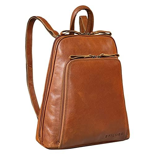 STILORD 'Martha' Lederrucksack Frauen Vintage Daypack Damen Rucksack City Ausgehen Shopping Arbeit Rucksacktasche Leder, Farbe:Texas - braun