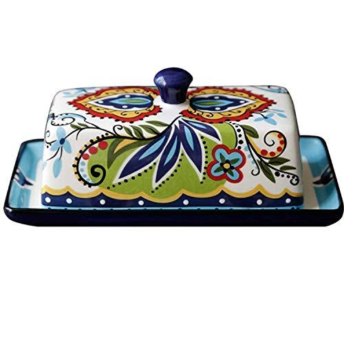 Caja de mantequilla de cerámica creativa con tapa,vajilla pintada a mano,plato de postre con patrón de flores de plantas,plato de aperitivo,adecuado para el hogar,restaurante,hotel,etc. (Green Polka)