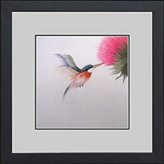 King Silk Art 100% Handmade Embroidery Framed Red Necked Hummingbird & Pink Flower Oriental Wall Hanging Art Asian Decoration Tapestry Artwork Picture Gifts 31031WFB1