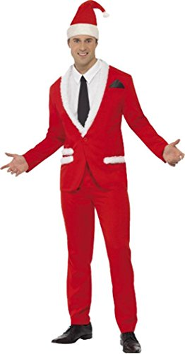 SMIFFYS Mens Christmas Fancy Dress Party Outfit Xmas Santa Claus Cool Costume Rosso