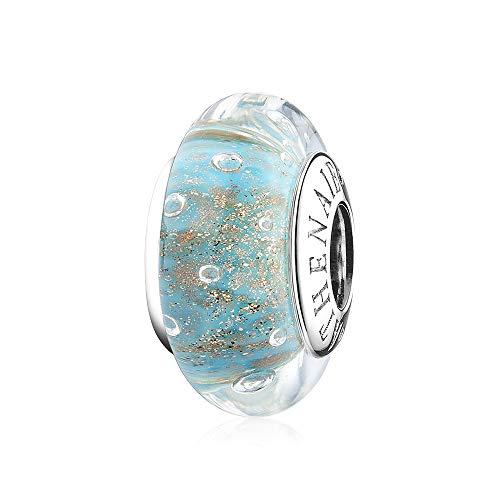 ATHENAIE Cristal italiano de Murano Plata de ley 925 Perlas de encantos de burbujas de arenas doradas de color azul claro para pulsera