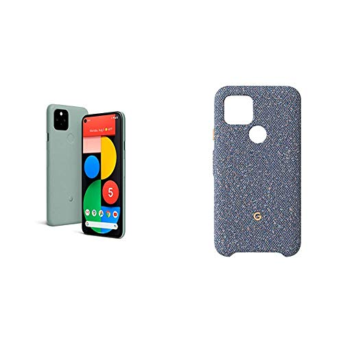 Google Pixel 5-5G Android Phone - Water Resistant - Unlocked Smartphone with Night Sight and Ultrawide Lens - Sorta Sage with Google Pixel 5 Case, Blue Confetti