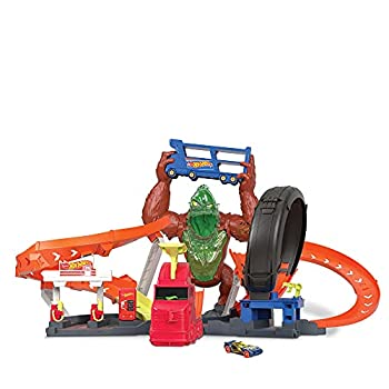 Hot Wheels Toxic Gorilla Slam Gas Station & Tire Repair Shop Playset with Adjustable Launcher Lights & Sounds & 1 1 64 Scale Car Connects to Other Track Sets Gift for Kids 5 Years Old & Up