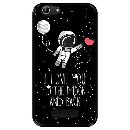 Hapdey Funda Negra para [ Cubot Dinosaur - Note S ] diseño [ Astronauta, Love You to The Moon and Back ] Carcasa Silicona Flexible TPU