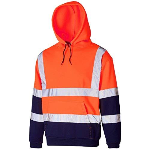 Price comparison product image Hi Vis Viz Hooded Sweatshirt High Visibility Reflective Tape Band Work Fleece Safety Sweat Shirts Jacket Workwear Hoodie Work Wear Hoody Jumper Top(Pull Over Hoody Orange / Navy,  3XL)