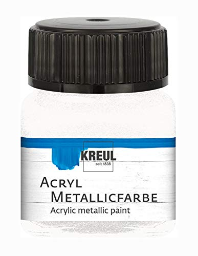 Kreul 77279 - Pintura acrílica metalizada, 20 ml, cristal blanco nacarado, glamurosa...