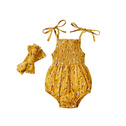 Newborn Baby Girl Summer Clothes Linen Ruffle Halter Romper and Headband 2Pcs Outfits Set (Yellow-B, 0-3 Months)