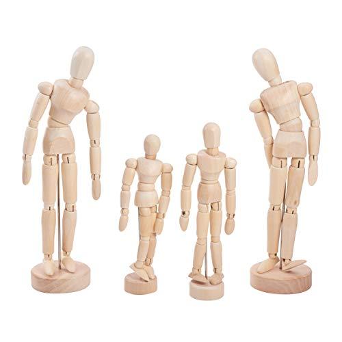 WANDIC Holz Puppe Dummkopf, 4 Stücke Holz Künstler Figur Puppe Modell für Skizze Holzkohle Home Office Schreibtisch Dekoration Kinderspielzeug Geschenk