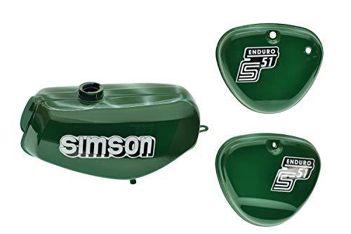 Tank Set mit Seitendeckel S51E Enduro Billardgrün versiegelt mit Aufkleber Simson