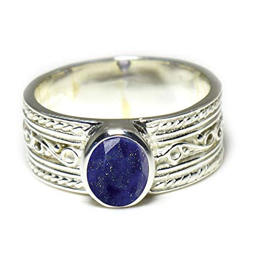 Gemsyogi Unisex Herren Damen - Sterling-Silber 925 Sterling-Silber 925 Oval Blue Lapislazuli