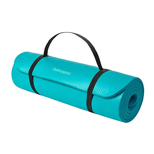 Retrospec Solana Yoga Mat Thick w/Nylon Strap for Men & Women, Turquoise