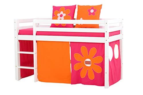 Hoppekids Basic-A4-3 Flower Power Textile und Matratze Halbhoch-/Spiel-/Junior-/Kinder-/Jugendbett, Kiefer massiv, Liegefläche 70 x 160 cm, Holz, weiß, 168 x 81 x 105 cm