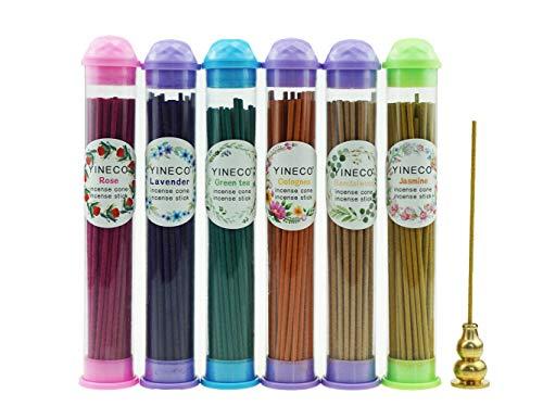 300PCS Mini Incense Sticks Lavender Rose Jasmine Sandalwood Green Tea Colognes 6 Popular Incense Flavors Great for Aromatherapy (4.13in)