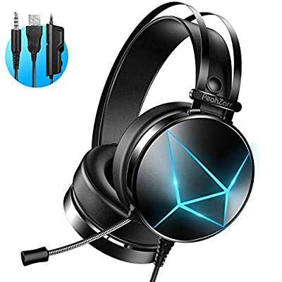 PeohZarr Gaming Headset PS4 Headset Xbox One Headset with 7.1 Surround Sound PC Headset with Crystal Clear Mic & Large Earpads, Gaming Headphones for Xbox