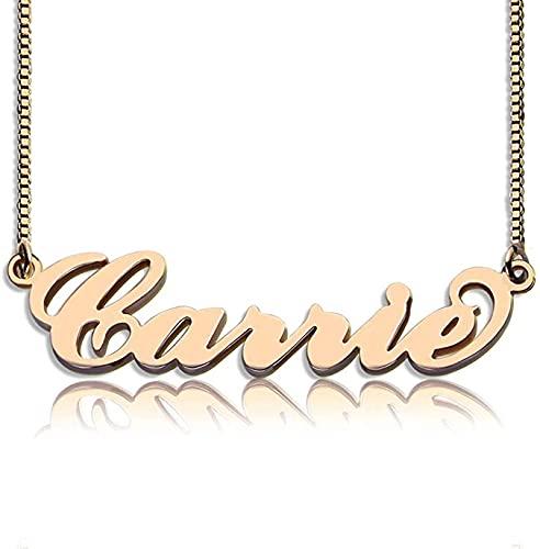 Collar de plata de ley 925 YCHZX Collar de plata de ley 925 con nombre personalizado, colgante de pareja para amante, amiga, madre Oro rosa
