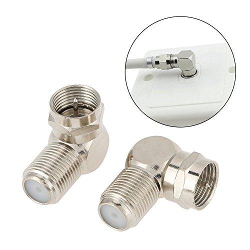 Conector adaptador tipo F de 5 piezas, conjunto de adaptador de conector de cable de ángulo recto de antena de TV macho a hembra tipo F, soporte para RG6, para coaxial RG59