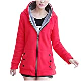 Tops for Women Faux Fur Hoodie Jacket Zipper Up Coat with Pockets Long Sleeve Outwear Slim Fit Basic Solid Color Tops Red