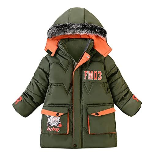 YOYORI Boys Girls Unisex Coat Clothes - Baby Infant Winter Warm Jacket Toddler Plush Hooded Outwear Coats (Green, 2-3 Years)