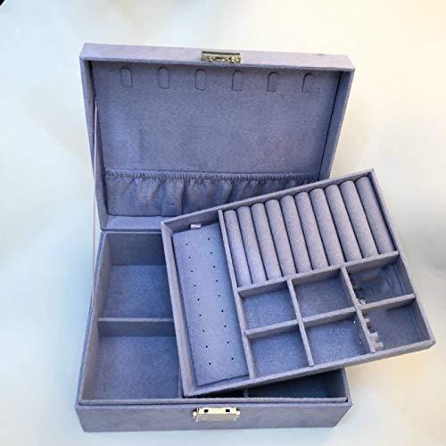 Cajas de joyería de terciopelo de doble capa caja de almacenamiento de joyería europea caja de almacenamiento de joyería grande espacio caja de regalo